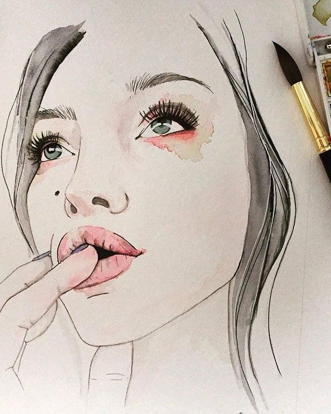 Watercolor Illustration Portrait Ivy Levan