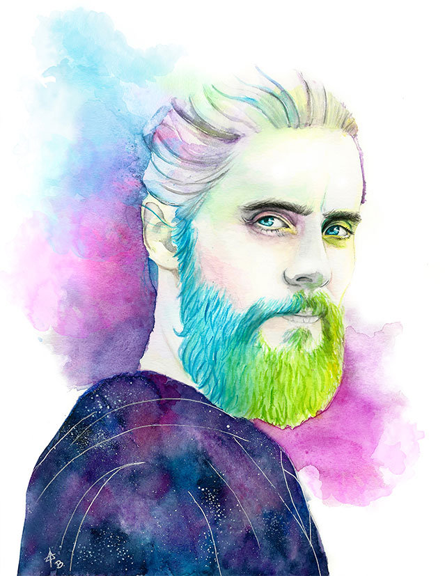 Illustration Watercolor Portrait Jared Leto